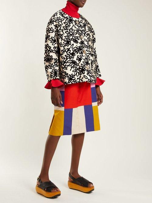 Mikado Floral Print Faille Jacket by Marni