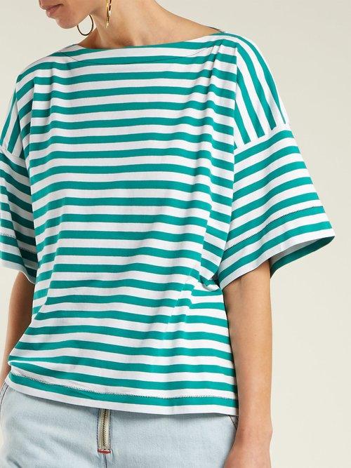 Boat-neck striped cotton top by Marni