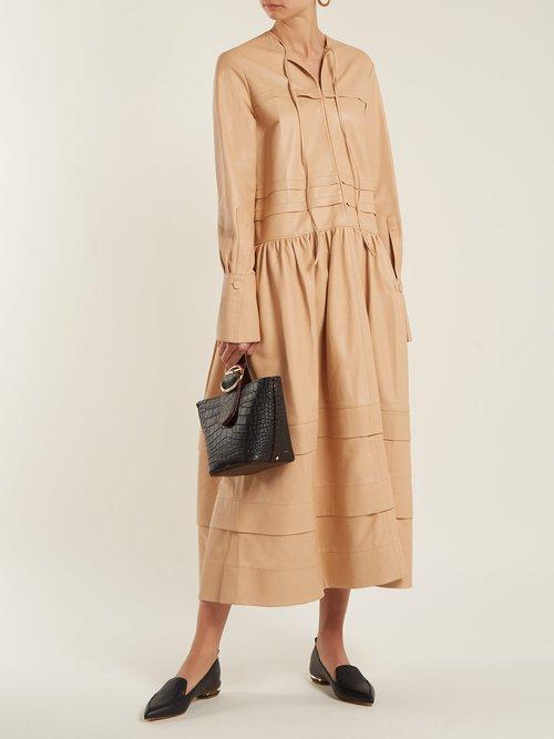 Beya Point Toe Grained Leather Loafers by Nicholas Kirkwood