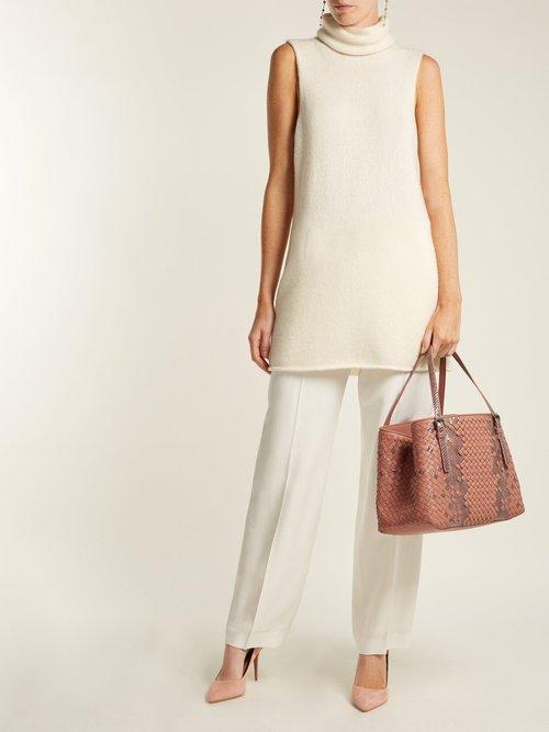 Intrecciato medium leather & snakeskin tote bag by Bottega Veneta