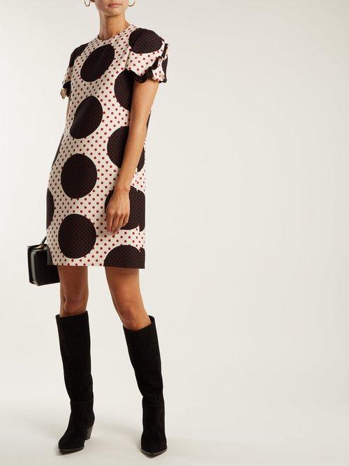 Polka-dot wool-silk crepe dress by Valentino
