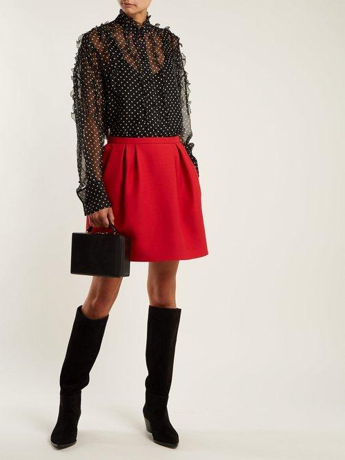 Polka-dot print silk-chiffon blouse by Valentino