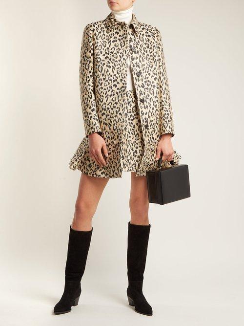 Leopard Print Brocade Coat by Valentino