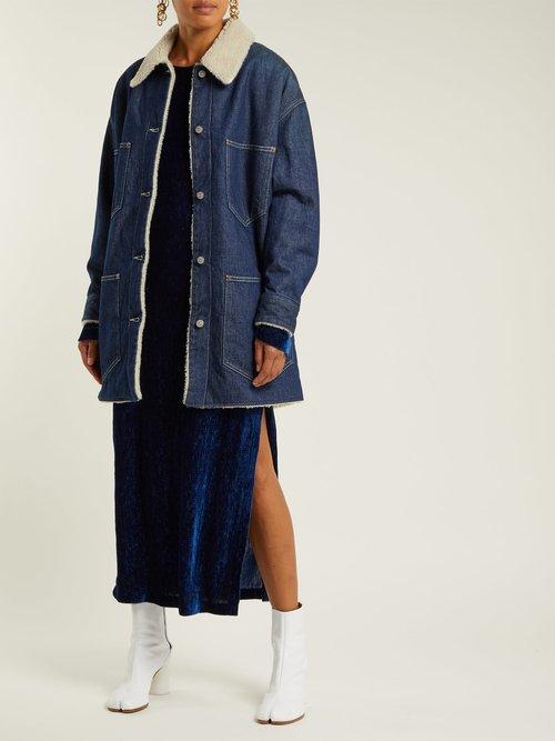 Shearling Lined Denim Coat by Mm6 Maison Margiela