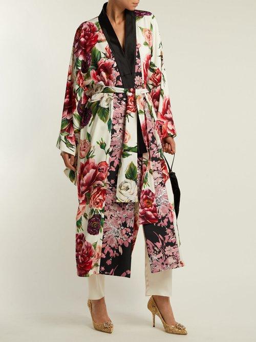 Peony And Rose Print Charmeuse Kimono Coat by Dolce & Gabbana
