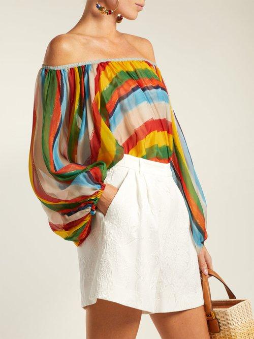 Striped silk-chiffon off-the-shoulder blouse by Dolce & Gabbana