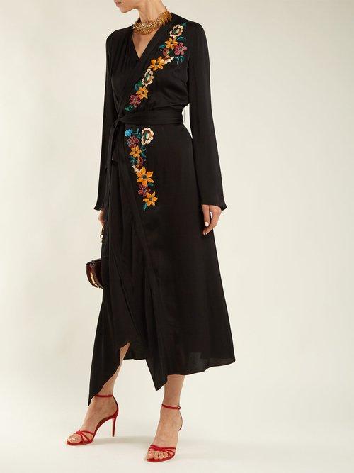 Shop Etro Floral-embroidered wrap dress online sale