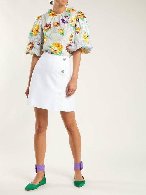 Photo of Crystal Embellished Crepe Mini Skirt by Msgm - shop Msgm online sales