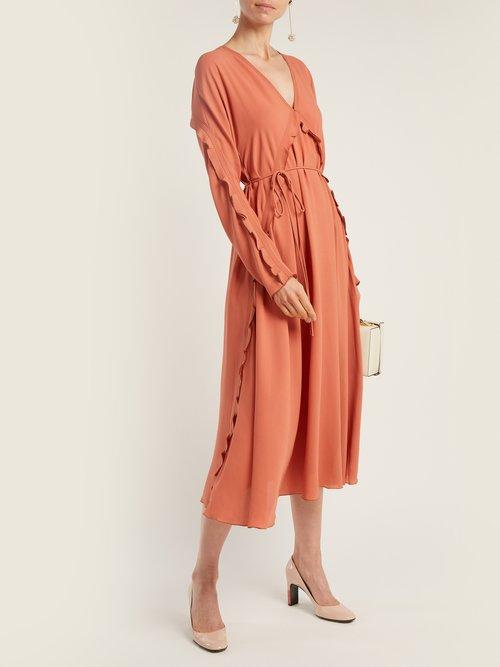 Ruffle Trimmed Silk Dress by Bottega Veneta