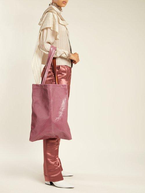 Farah crinkle-laminated vinyl tote bag by Sies Marjan