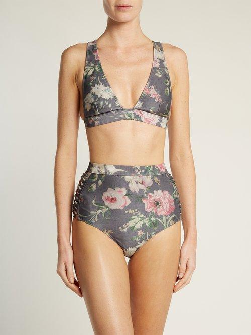 Iris floral-print bikini top by Zimmermann