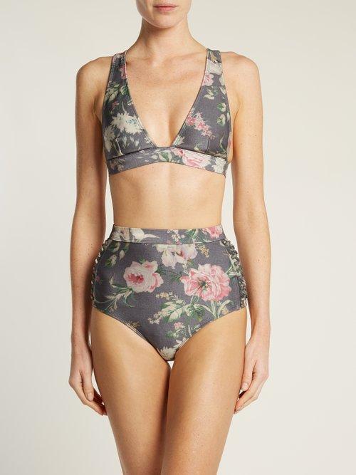 Iris floral-print high-rise bikini briefs by Zimmermann