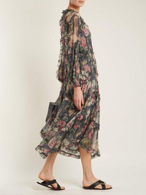 Iris Floral Print Sheer Silk Dress by Zimmermann