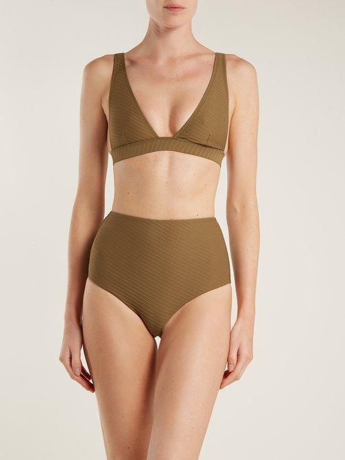 Textured triangle bikini top by Zimmermann