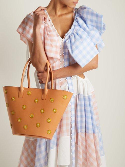 Sunflower-embellished leather tote bag by Mansur Gavriel