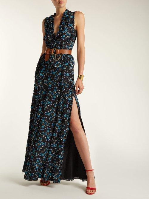 Medina Vine Print Silk Crepe De Chine Dress by Altuzarra