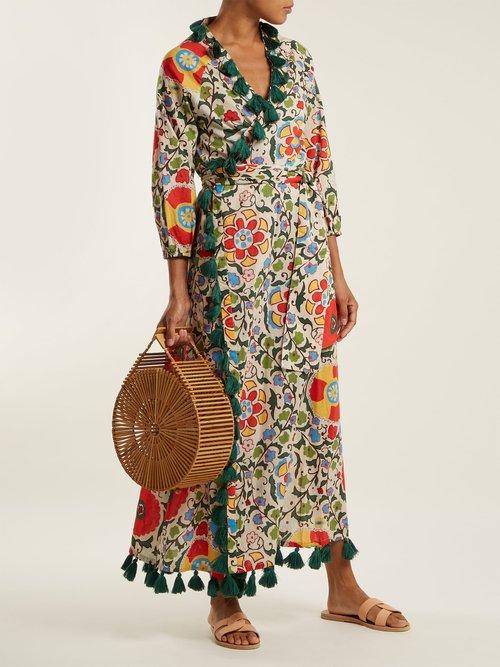 Lena tassel-trimmed cotton wrap dress by Rhode Resort
