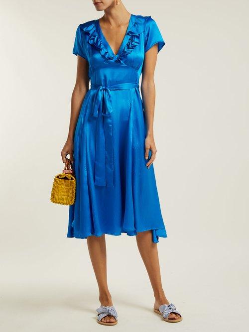 Celia Ruffled Hammered Silk Satin Dress by Rhode Resort