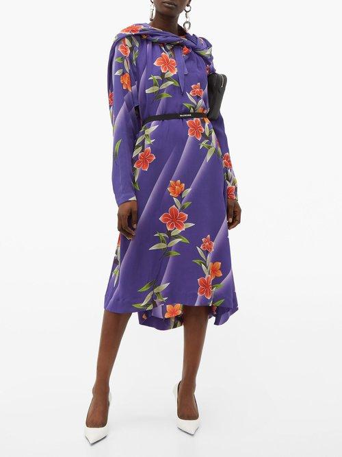 Floral Print Twisted Silk Dress by Balenciaga
