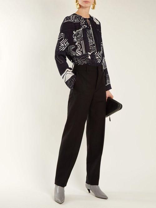 Abstract-print silk blouse by Balenciaga