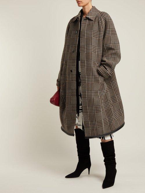 Photo of Reflective Detail Checked Wool Coat by Balenciaga - shop Balenciaga online sales