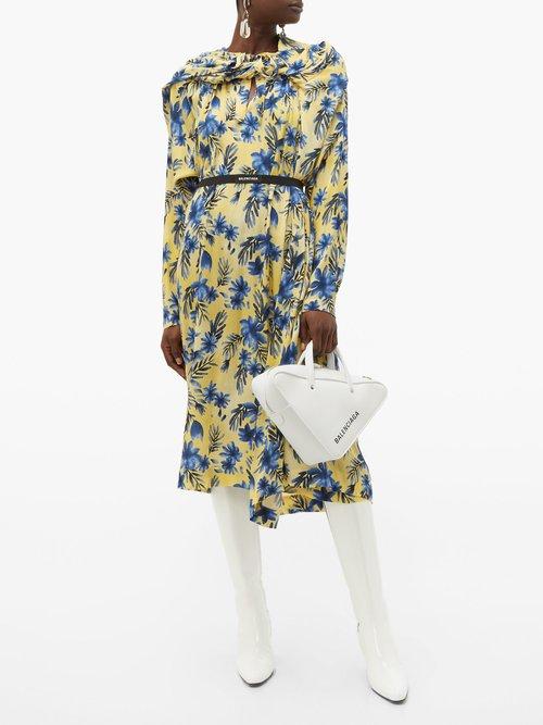 Photo of Balenciaga Floral Print Silk Dress, shop Balenciaga dresses online sale