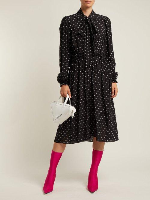 Photo of Balenciaga Reverence Bb Print Tie Neck Silk Dress, shop Balenciaga dresses online sale