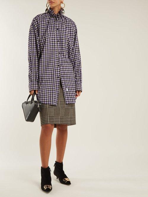 Ruffle-neck cotton flannel shirt by Balenciaga