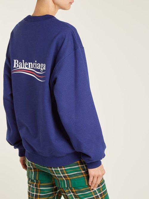 Logo-print cotton sweatshirt by Balenciaga