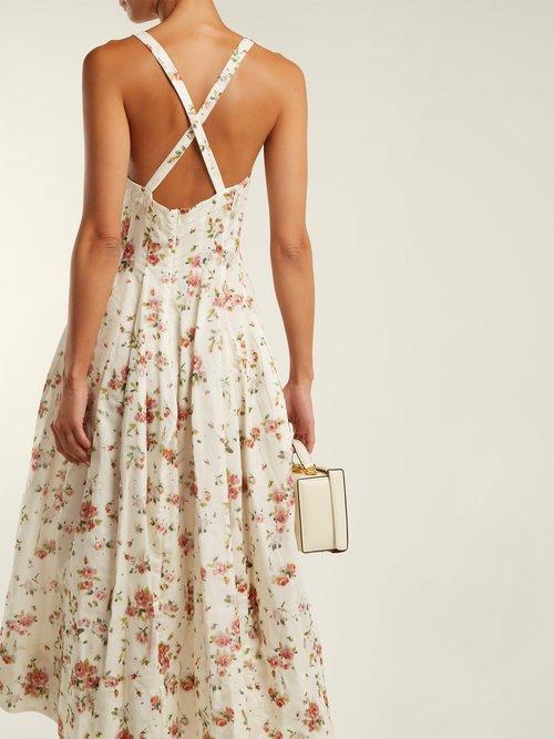 Shop Brock Collection Daphne floral-print silk-charmeuse dress online sale