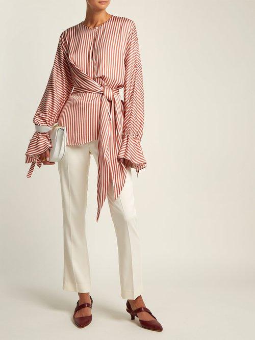 Stripe twist-front shirt by Jonathan Simkhai