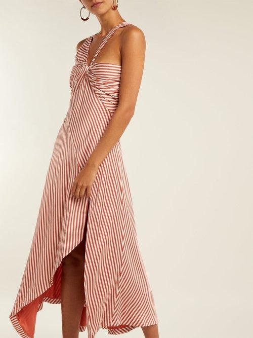 Asymmetric striped dress by Jonathan Simkhai