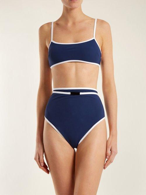 Contrast-trim bikini top by Diane Von Furstenberg