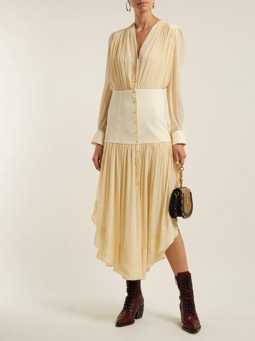 Asymmetric-hem mousseline dress by