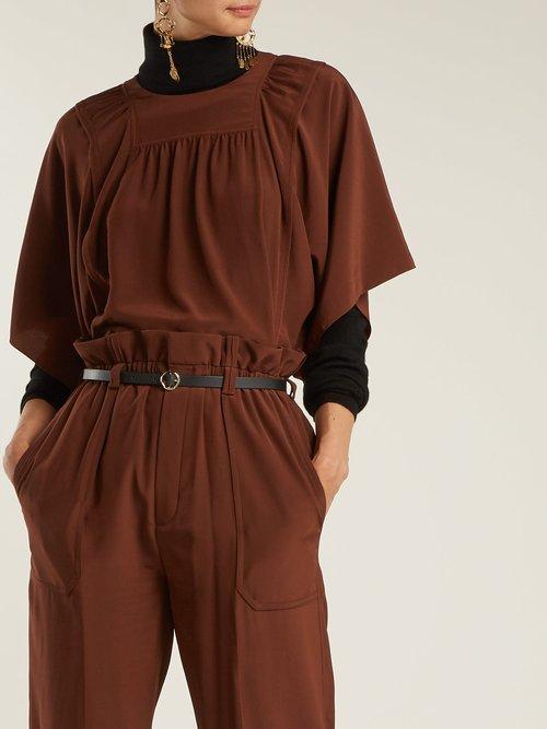 Square-bib silk crepe de Chine blouse by
