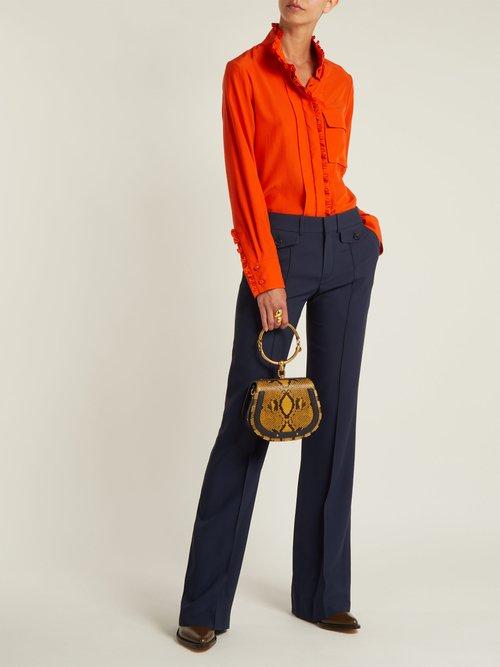 High-neck silk shirt by