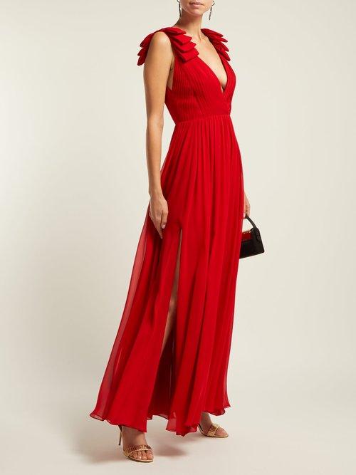 Pleated silk-crepe gown by Elie Saab