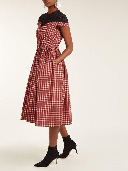 Madras Check Cotton Dress by Fendi