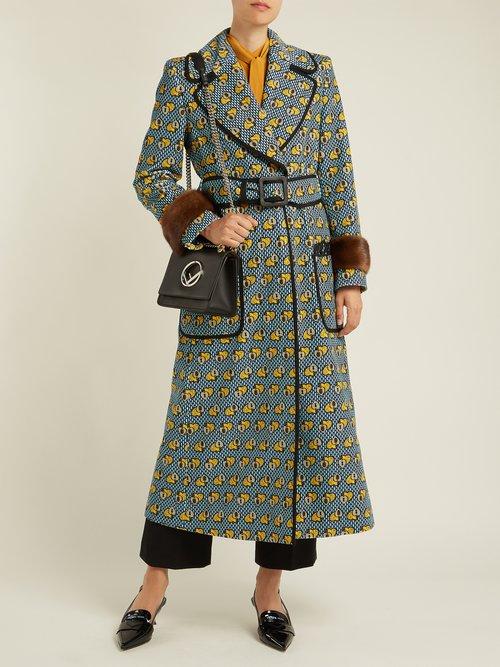 Heart Print Fur Trimmed Cotton Blend Coat by Fendi