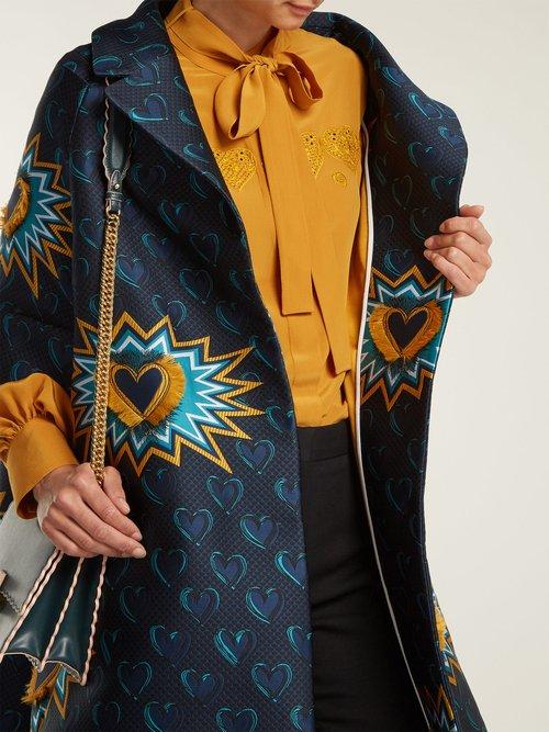 Heart Beat Jacquard Coat by Fendi