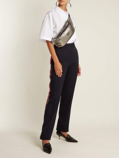 Metallic double-zip belt bag by Prada