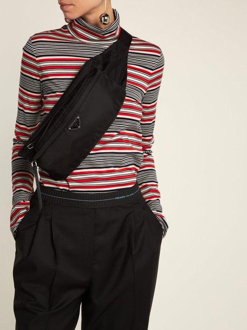 Nylon double-zip belt bag by Prada