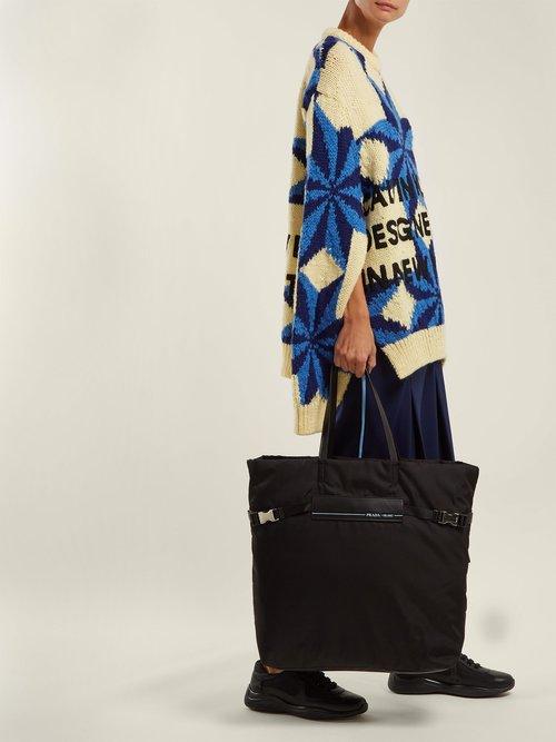 Logo-patch nylon tote bag by Prada