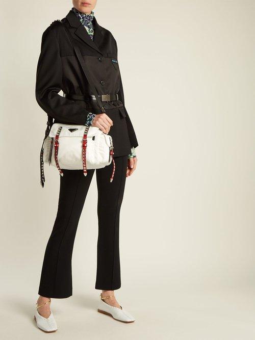 Vela leather-trimmed cross-body bag by Prada