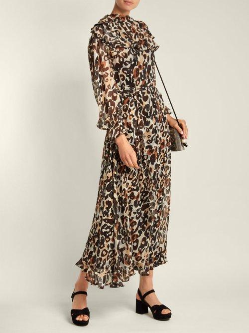 Leopard-print silk maxi dress by Sonia Rykiel