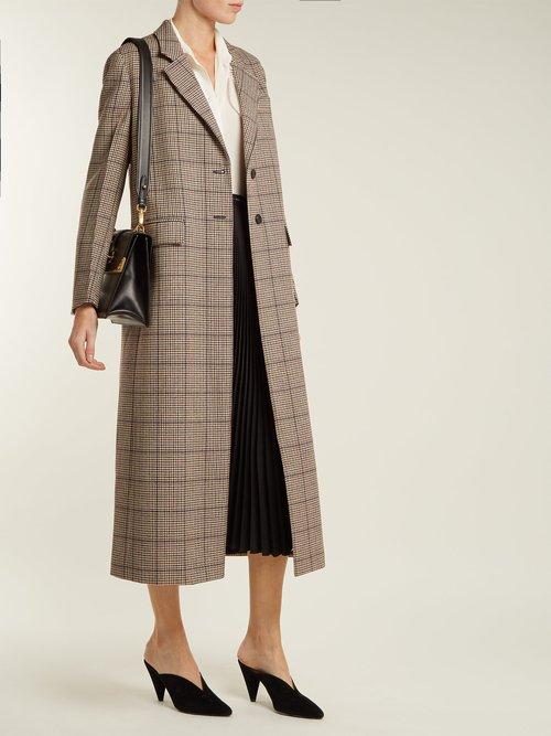 Single Breasted Houndstooth Wool Blend Coat by Prada