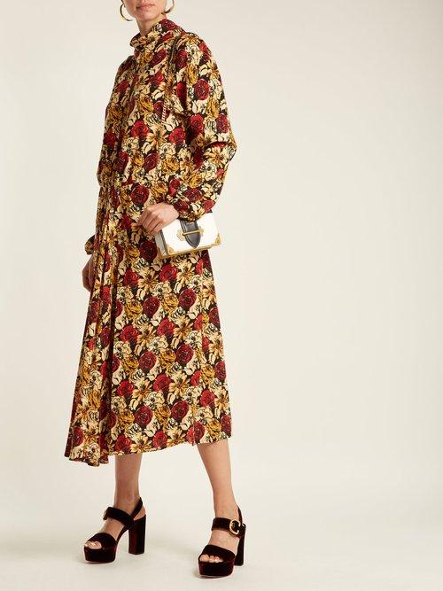Marocaine floral-print silk dress by Prada