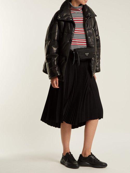 Leather Puffer Jacket by Prada