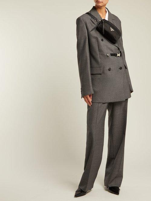 Belt Fastening Damier Wool Blazer by Prada