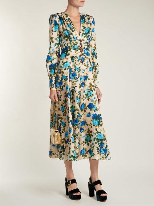 Rose Print Silk Twill Midi Dress by Gucci